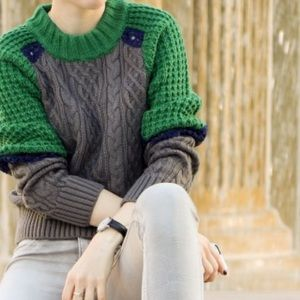 Sweaters - Eyelet trimmed cable knit sweater