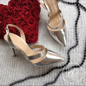 Wild Diva Shoes - Silver Strappy Heels.