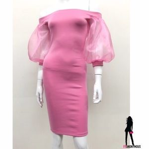 Puff Sleeve Pink Bodycon Dress