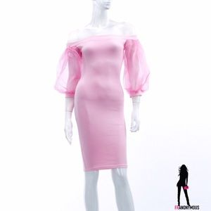 Puff Sleeve Pink Bodycon Dress S M  L