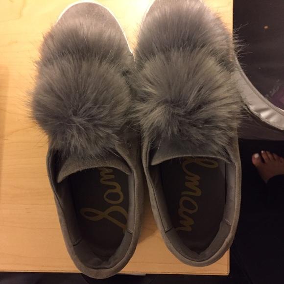 0d46a565b7df4 Sam Edelman Gray Leya Faux Fur Pom Pom shoes. M 580ec5a62de51217aa0ce03f