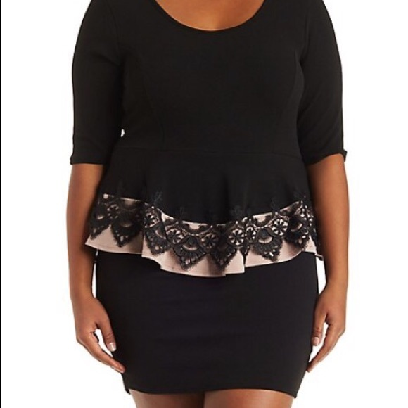 387c0cdaff6 Plus Size Dress with Lace Peplum. NWT. NWT. Charlotte Russe