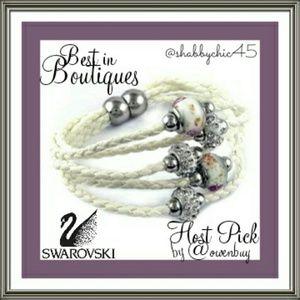 Swarovski Jewelry - Swarovski Crystal/Murano Bead Leather Bracelet