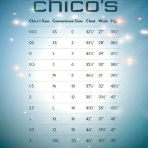 I have Chico's clothing size 3.