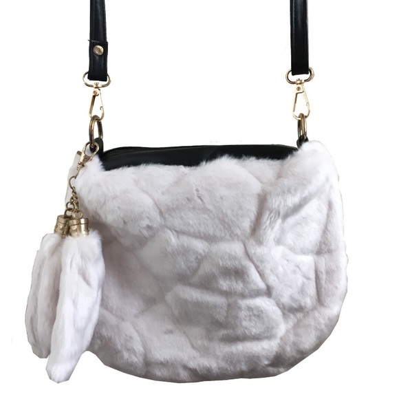 a2b64a7ccf Sale⚡ Hadlee White Faux Fur Handbag Vegan Leather