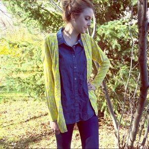 Tan & Bright Yellow Cardigan