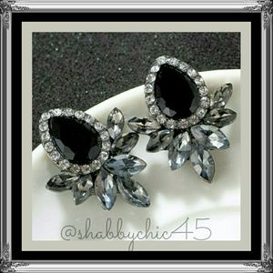 Boutique Jewelry - Classy Black and Crystal  Statement Earrings