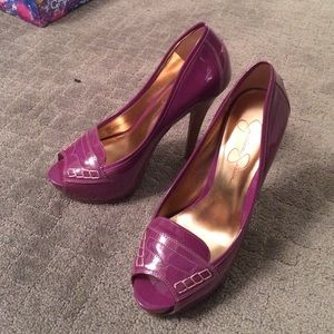 Jessica Simpson patent peep toe heels