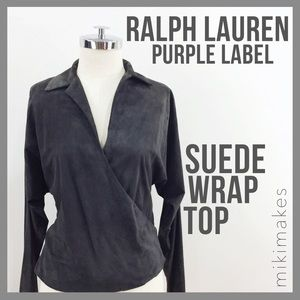 Ralph Lauren Purple Label Tops - RALPH LAUREN • purple label suede wrap shirt