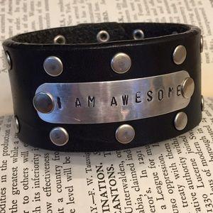 Jewelry - Custom black studded leather stamped bracelet cuff