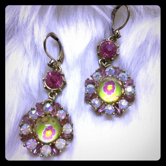 BETSEY Crystal Yellow & Pink Dangles - [JW-78]