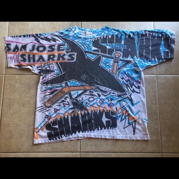 039a60ffc Magic Johnson Ts Other - Vintage San Jose Sharks All Over Print T-Shirt
