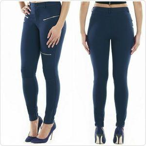 Pants - ONE SZ 4 LEFT!🔴NAVY MOTO ZIPPER leggings