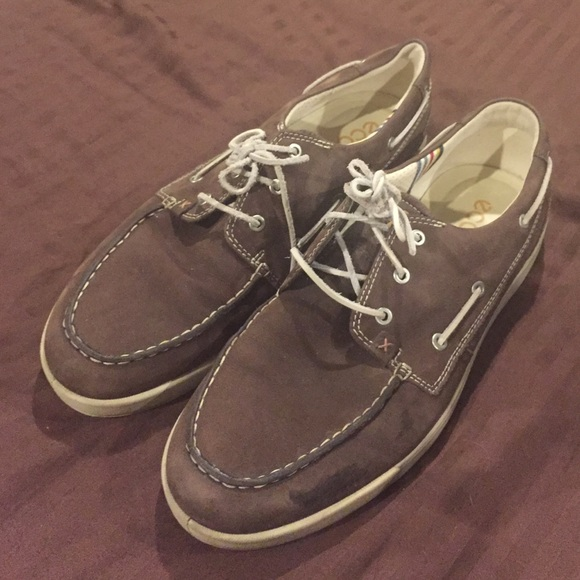 73% off Ecco Other - Ecco brown leather boat shoes size 14 from ...
