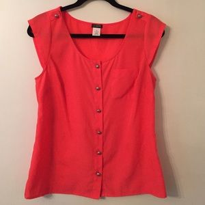 J.Crew coral blouse short sleeve XS