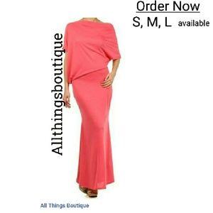 Shrimp color maxi dress new S, M,L off shoulde