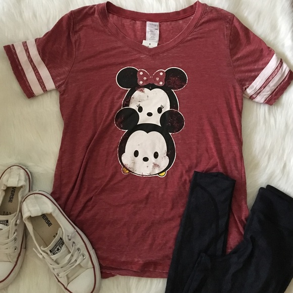 52afbb27d460 Disney Tops | Tsum Tsum Retro Ringer Tee Mickey Minnie Mouse L ...