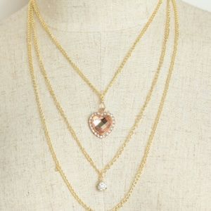 Jewelry - Layered Heart Topaz & Crystal Ball Necklace