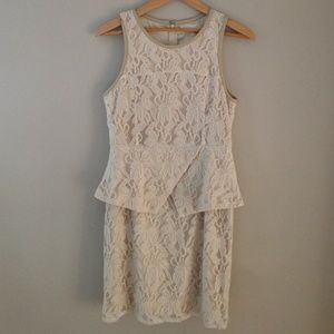 Miss Me Dresses & Skirts - MM Couture cream lace peplum dress NWOT