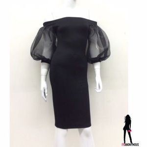 The Blossom Apparel Dresses & Skirts - BlackOff Shoulder Puff Sleeve Bodycon Dress