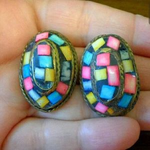 Vtg Fruit Salad MOP Shell Mosaic Inlay Earrings