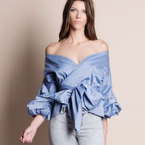 Bare Anthology Tops - Off Shoulder Puff Sleeve Wrap Top