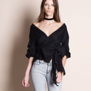 Off Shoulder Puff Sleeve Wrap Top