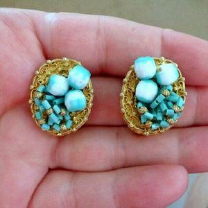 Vtg Turquoise & White Beaded Clip Earrings