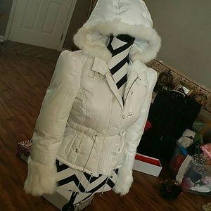 Bebe extra small white winter jacket