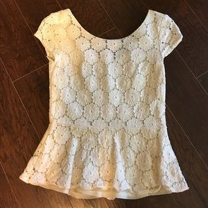 Xhilaration cream lace peplum top Zipper back sm