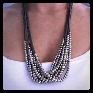 Fun layered necklace with silver metallic beading