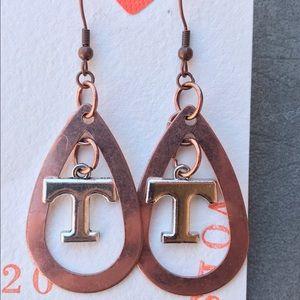 Jewelry - UT VOLS silver Cooper hoop T pendant earrings gift