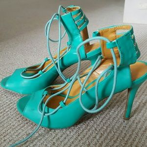 Shoe Republic LA Lace-up Turquoise Heels