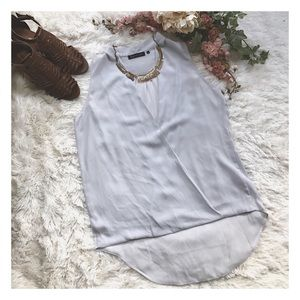 Violet & Claire Tops - Deep V Sheer High Low Blouse