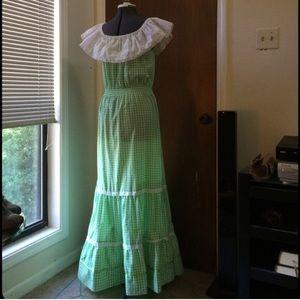 Vintage Dresses & Skirts - Vintage Green Boho Prairie Dress