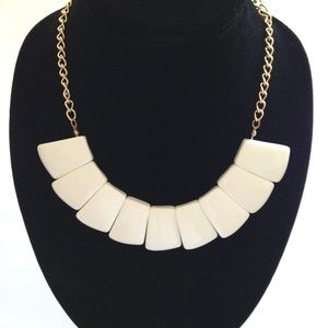 White Necklace w/Gold Chain