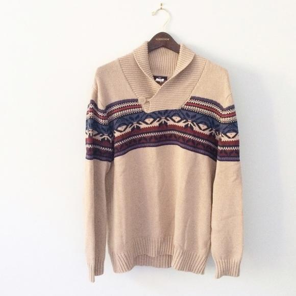 77% off GAP Other - GAP [Men's] Tan fairisle Sweater shawl collar ...