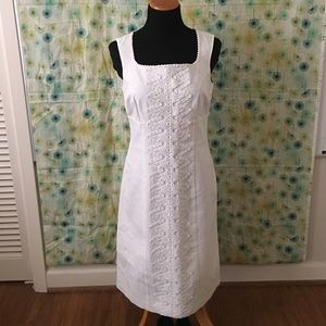 Boden white embroidery dress