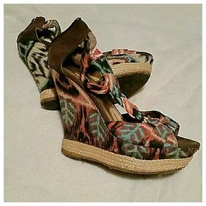 Body Central Shoes - Multi colored wedge sandals