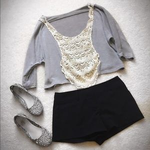 Tops - Gray and lace crop top