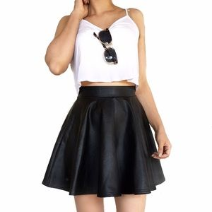 Topshop faux leather andie skater skirt