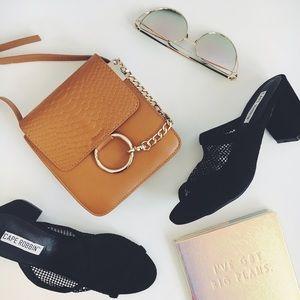 Handbags - Sale! Brown Vegan Leather O Ring Mini Handbag