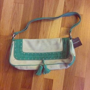 Burberry Handbags - NWT! Burberry suede bag, creme and Kelly green.