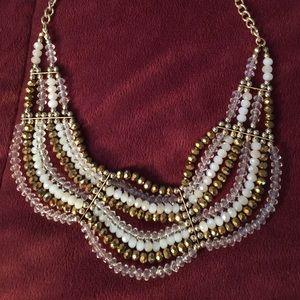 Gold Bead Statement Bib Necklace