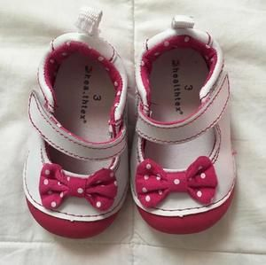 Other - White and hot pink Mary Janes.  Velcro closure.  Polka dot bow on the top and pink soles. Very cute