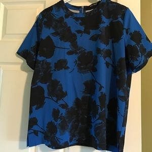 Blue and Black Floral Boxy Top