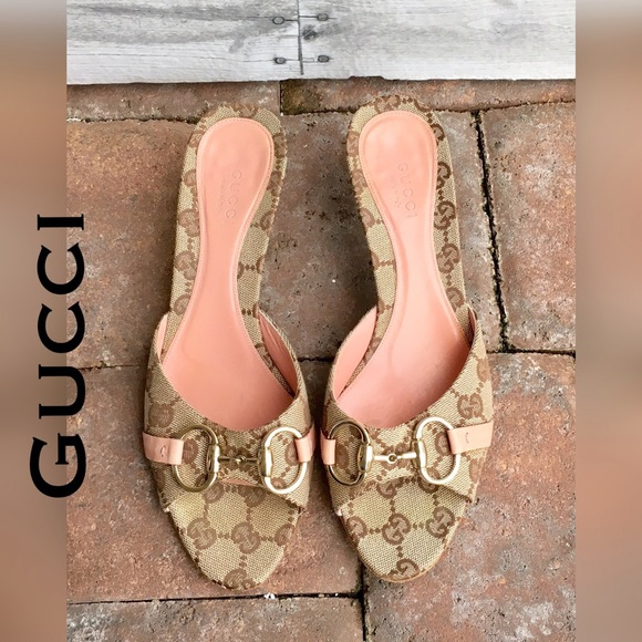 8cf3976ca Gucci Shoes | Authentic Signature Kitten Heel Slide Sandal | Poshmark