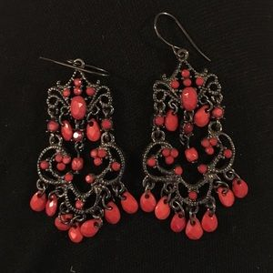 J. Crew Jewelry - Red and Pewter Chandelier Earrings
