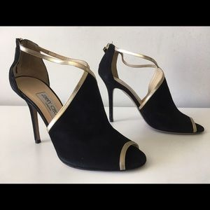 JIMMY CHOO FEY BLACK SUEDE 100mm HELL SANDALS