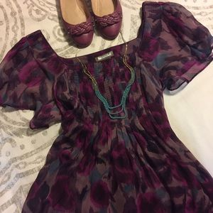 Kenar Floral Flutter Sleeve Sheer Blouse Purple